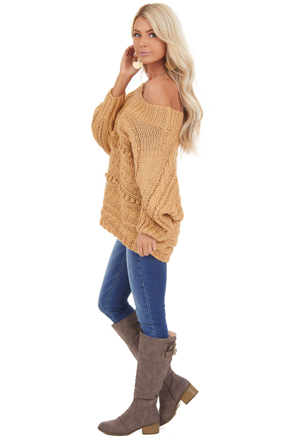 Marigold Off Shoulder Knit Sweater with Dot Details side full body