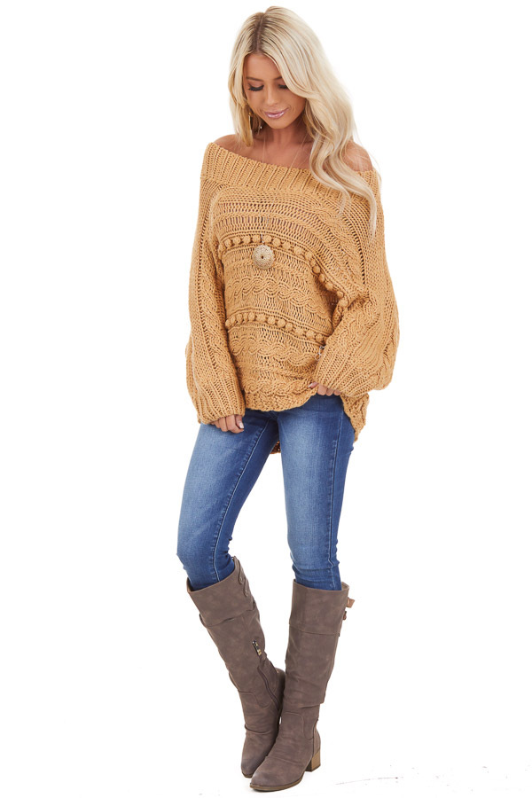 Marigold Off Shoulder Knit Sweater with Dot Details front full body