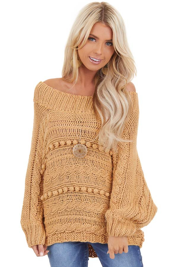 Marigold Off Shoulder Knit Sweater with Dot Details front close up