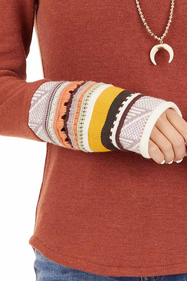 Rust Knit Top with Long Multi Color Contrast Sleeves detail