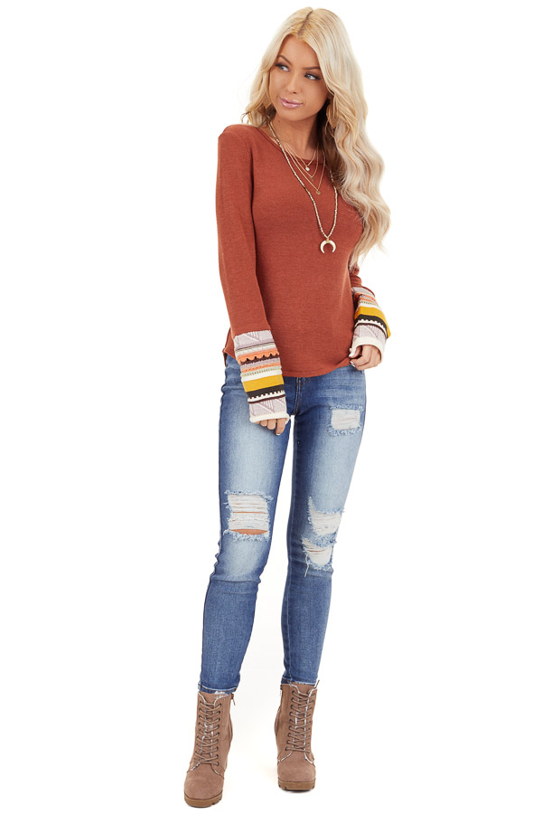 Rust Knit Top with Long Multi Color Contrast Sleeves front full body