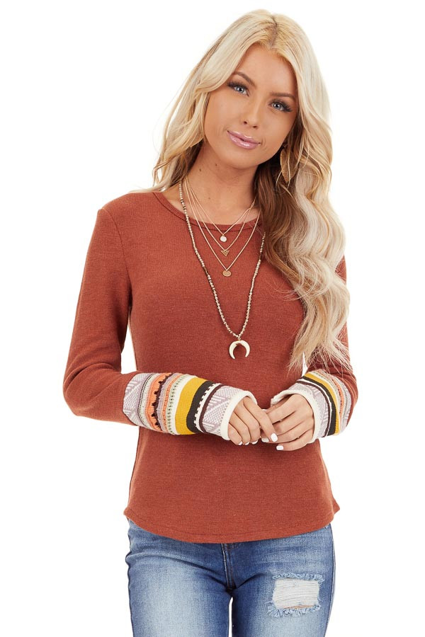 Rust Knit Top with Long Multi Color Contrast Sleeves front close up