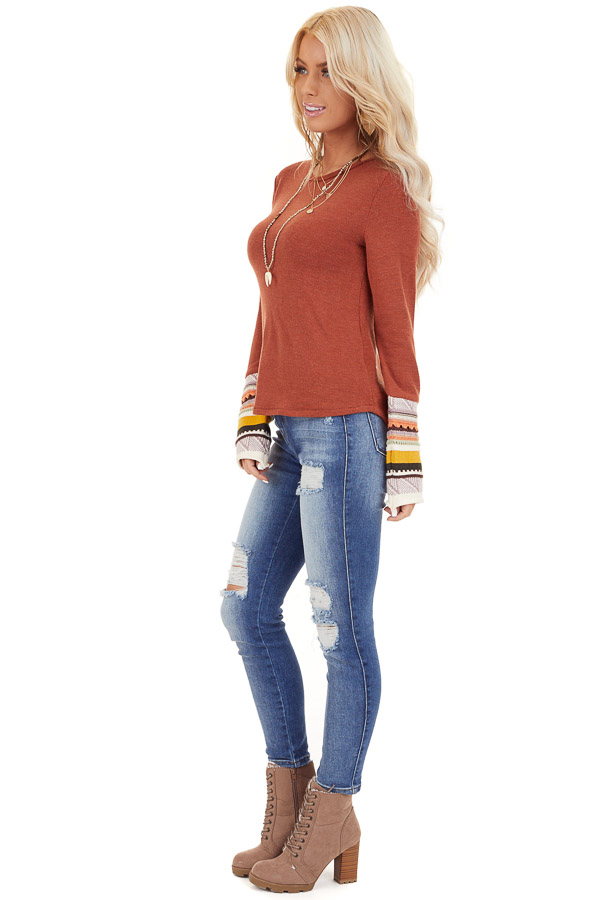 Rust Knit Top with Long Multi Color Contrast Sleeves side full body