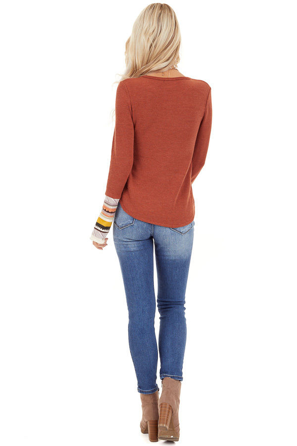 Rust Knit Top with Long Multi Color Contrast Sleeves back full body
