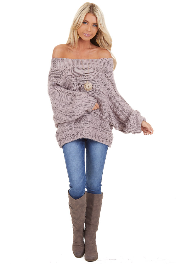 Lavender Off Shoulder Knit Sweater with Dot Details front full body