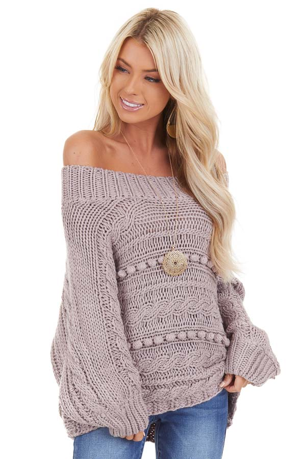 Lavender Off Shoulder Knit Sweater with Dot Details front close up