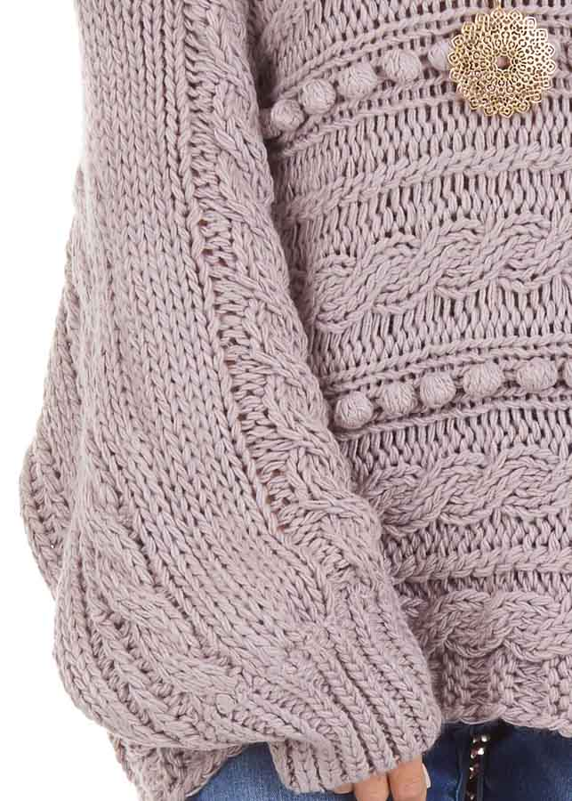Lavender Off Shoulder Knit Sweater with Dot Details detail