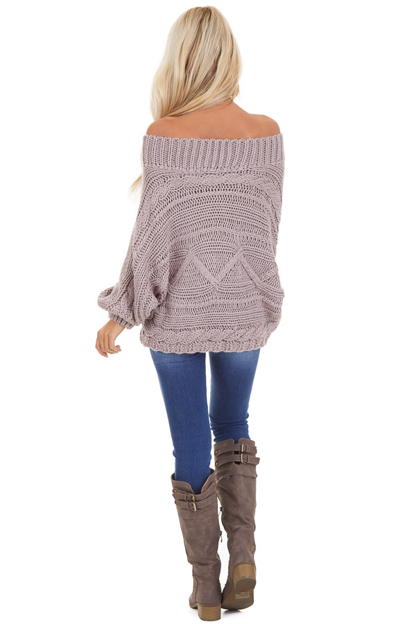 Lavender Off Shoulder Knit Sweater with Dot Details back full body
