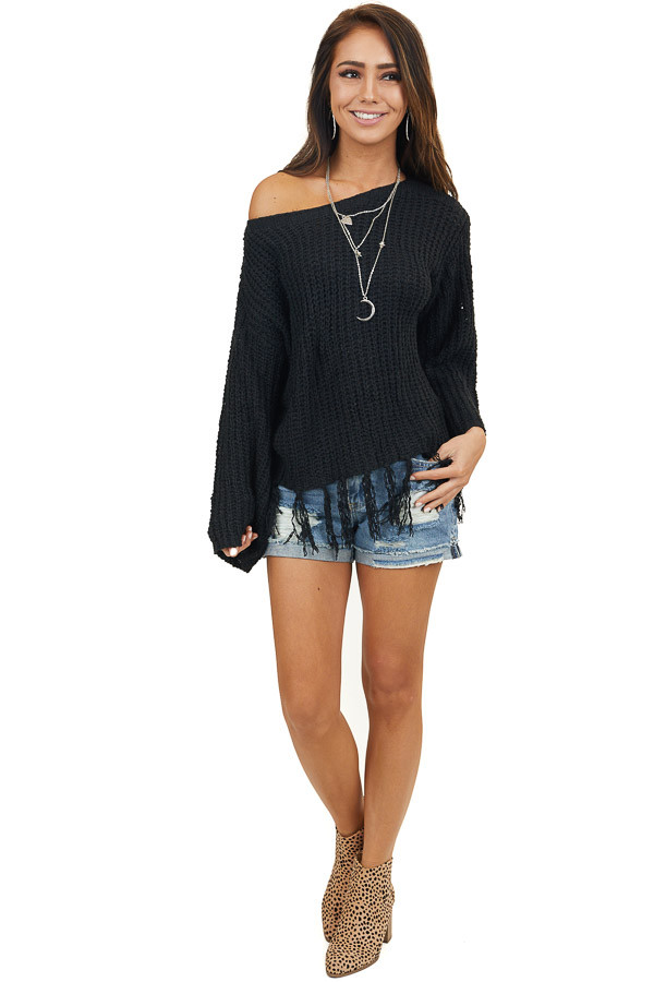 Black Long Sleeve Knit Sweater with Fringe Details