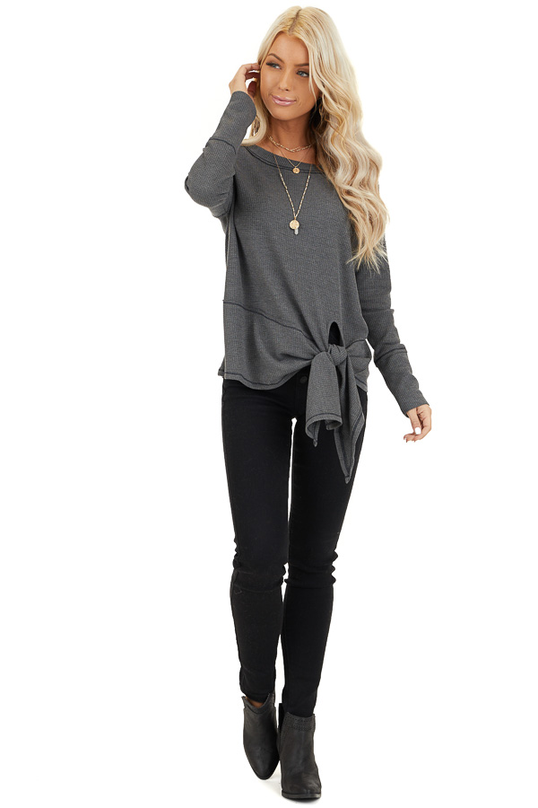 Charcoal Waffle Knit Top with Side Tie and Raw Edge Detail front full body