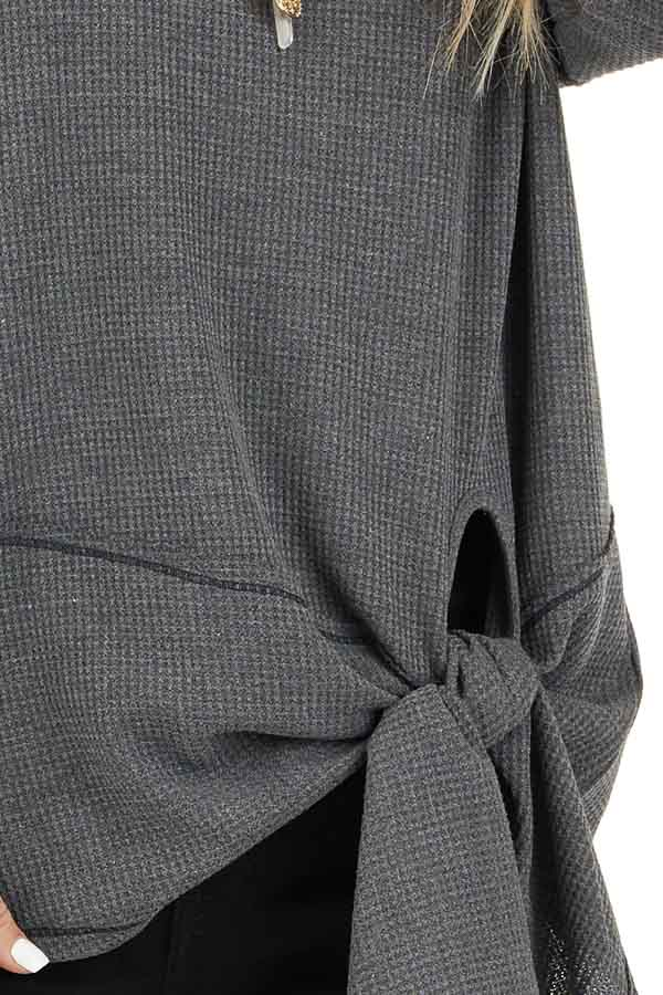 Charcoal Waffle Knit Top with Side Tie and Raw Edge Detail detail