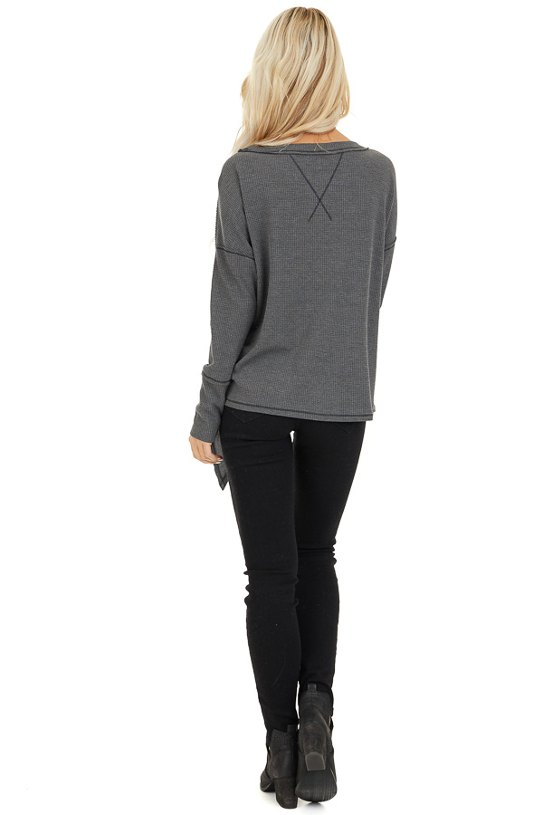 Charcoal Waffle Knit Top with Side Tie and Raw Edge Detail back full body