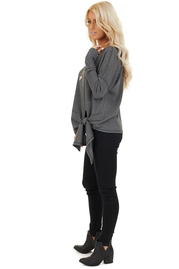Charcoal Waffle Knit Top with Side Tie and Raw Edge Detail side full body