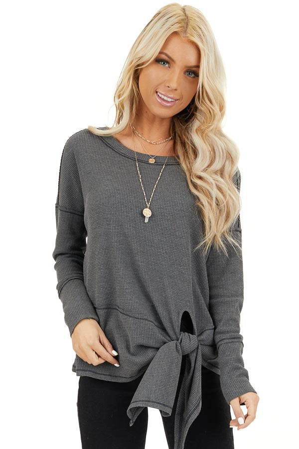 Charcoal Waffle Knit Top with Side Tie and Raw Edge Detail front close up