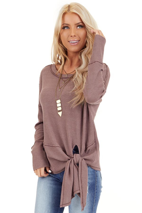 Mocha Waffle Knit Top with Side Tie and Raw Edge Detail front close up