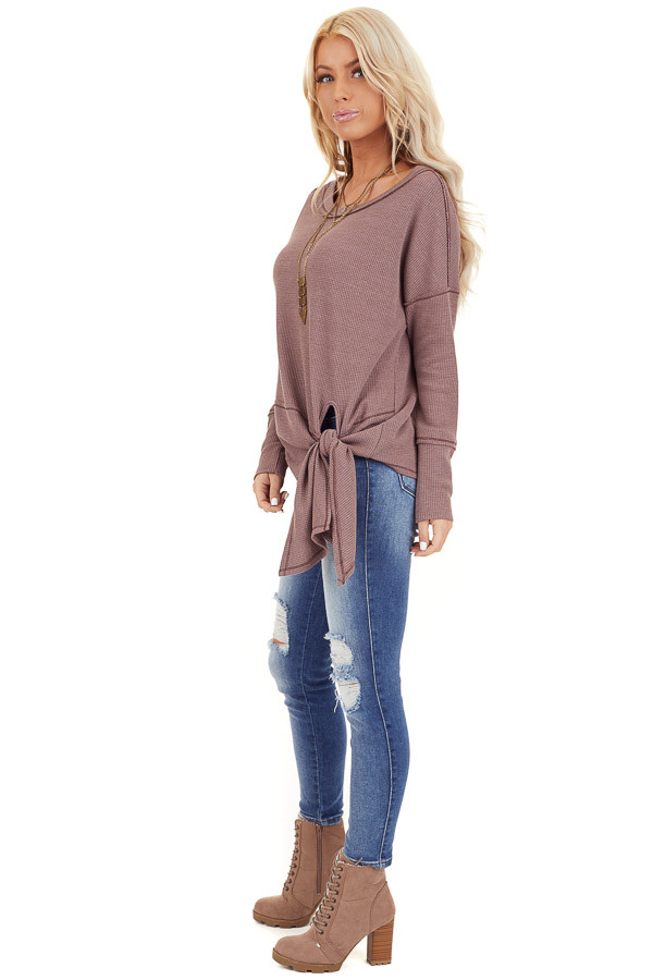 Mocha Waffle Knit Top with Side Tie and Raw Edge Detail side full body