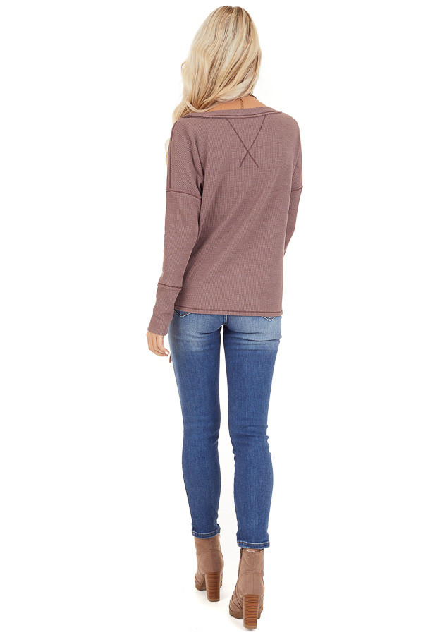 Mocha Waffle Knit Top with Side Tie and Raw Edge Detail back full body