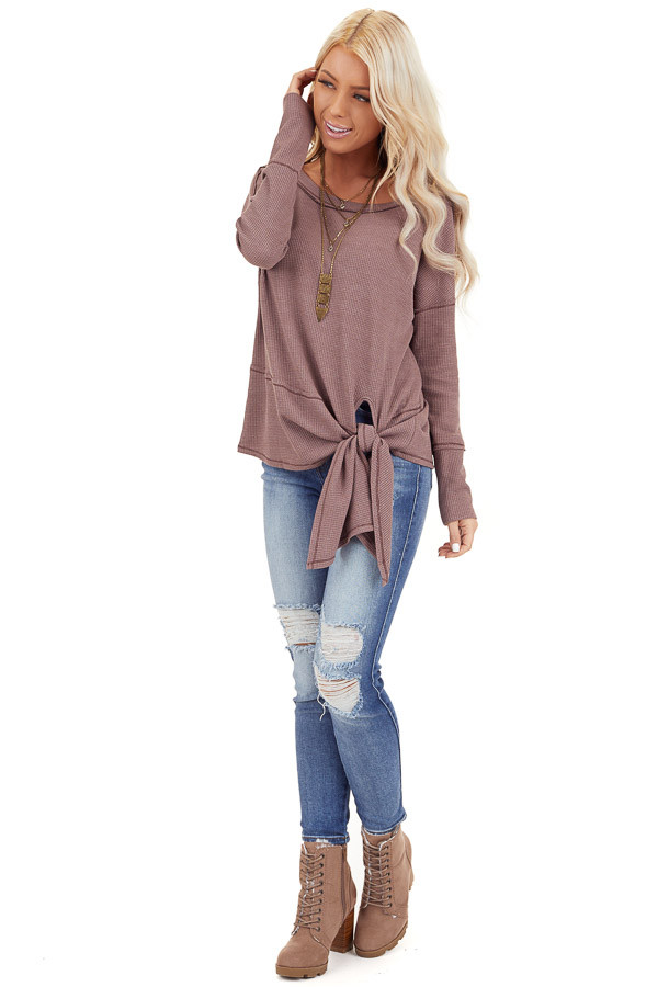 Mocha Waffle Knit Top with Side Tie and Raw Edge Detail front full body