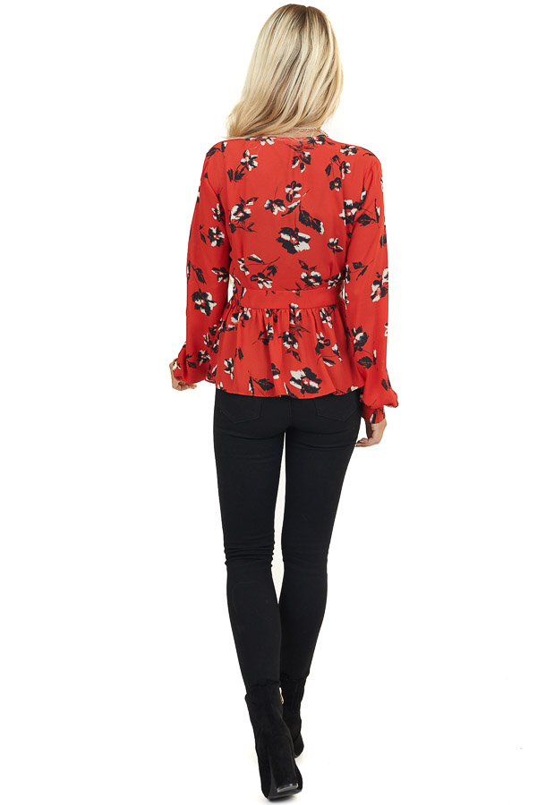Tomato Red Floral Print V Neck Blouse with Front Tie