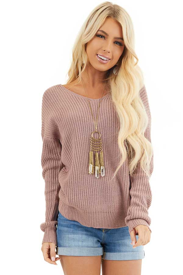 Mauve Long Sleeve Knit Sweater with Back Twist Detail front close up