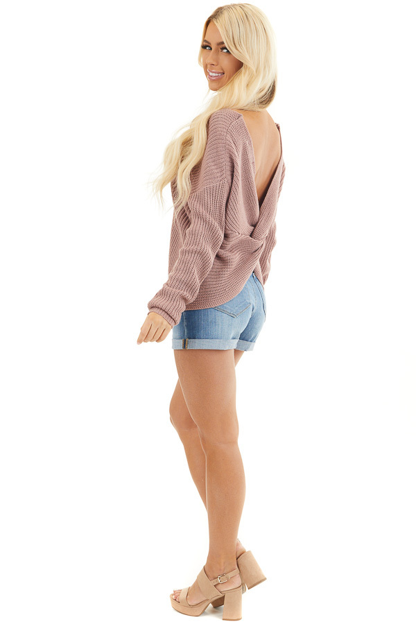 Mauve Long Sleeve Knit Sweater with Back Twist Detail side full body