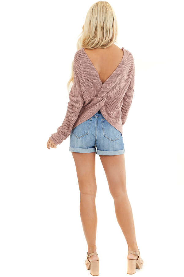 Mauve Long Sleeve Knit Sweater with Back Twist Detail back full body