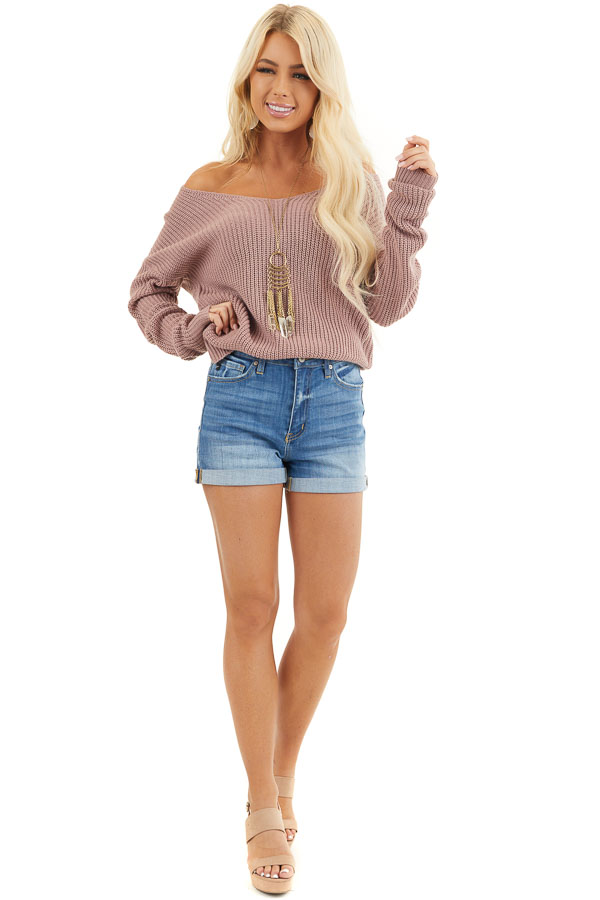 Mauve Long Sleeve Knit Sweater with Back Twist Detail front full body
