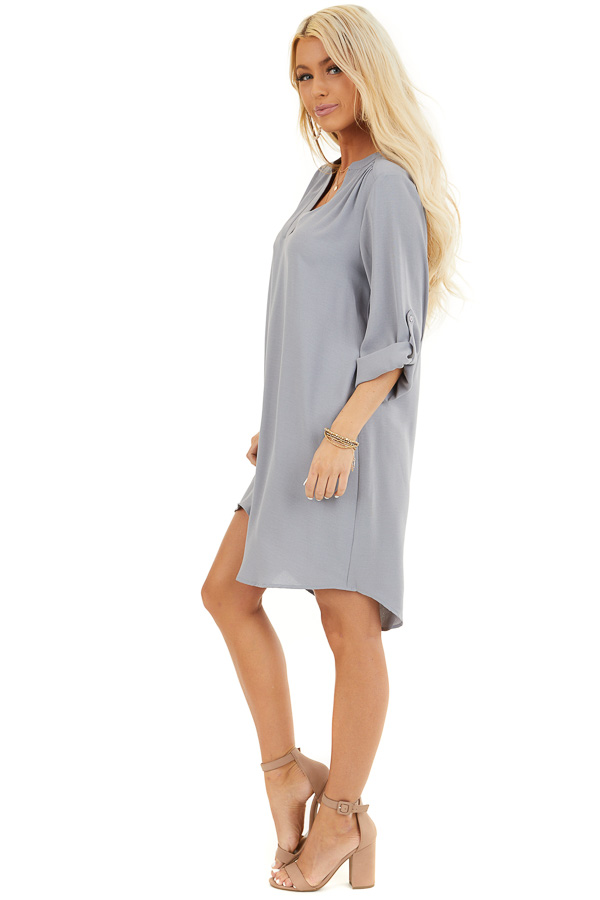Slate Grey Woven Shirt Dress with V Neckline and 3/4 Sleeves side full body