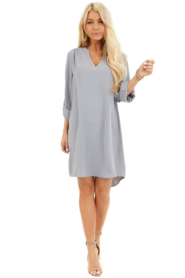 Slate Grey Woven Shirt Dress with V Neckline and 3/4 Sleeves front full body