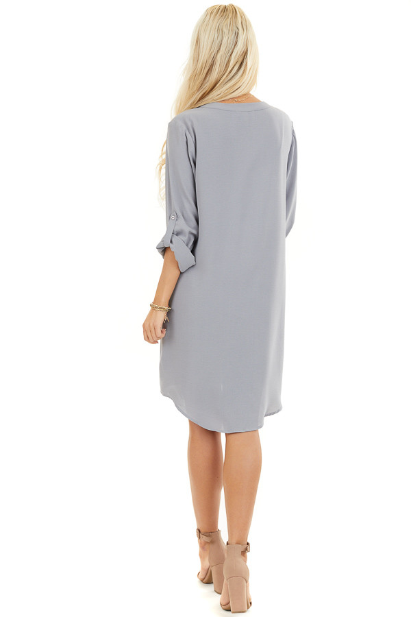 Slate Grey Woven Shirt Dress with V Neckline and 3/4 Sleeves back full body