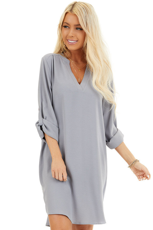 Slate Grey Woven Shirt Dress with V Neckline and 3/4 Sleeves front close up