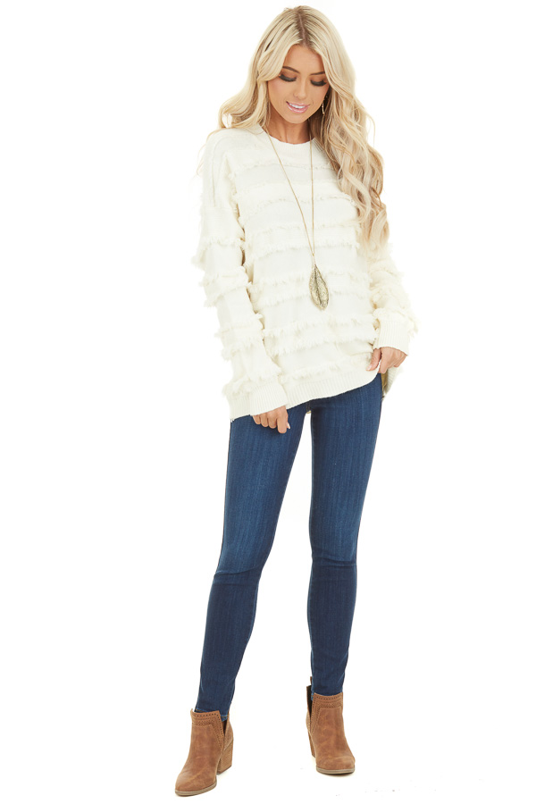 Ivory Long Sleeve Pullover Sweater Top with Fringe Details front full body