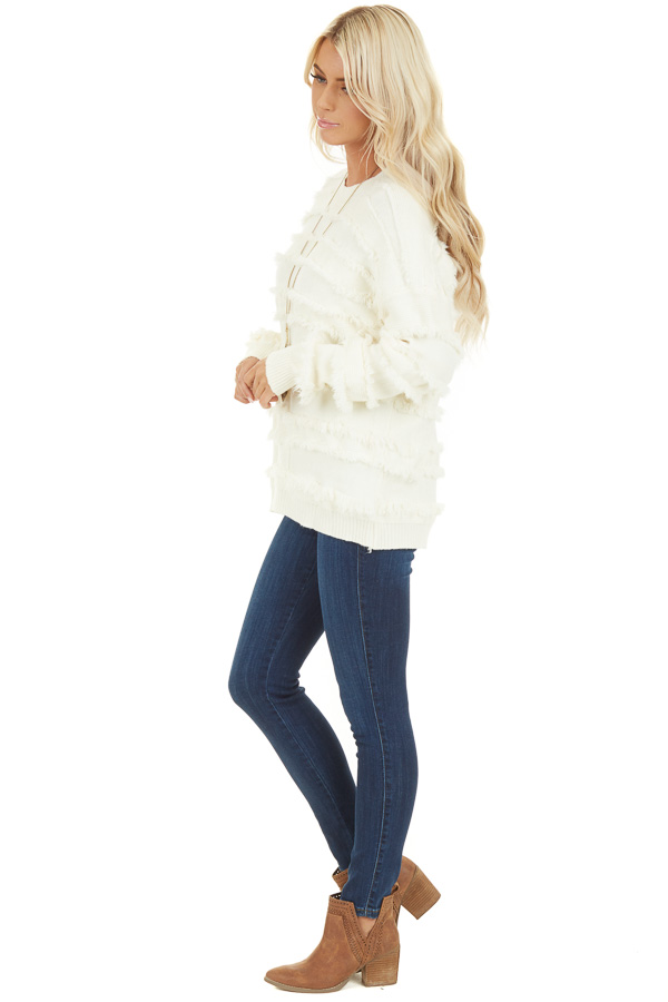 Ivory Long Sleeve Pullover Sweater Top with Fringe Details side full body