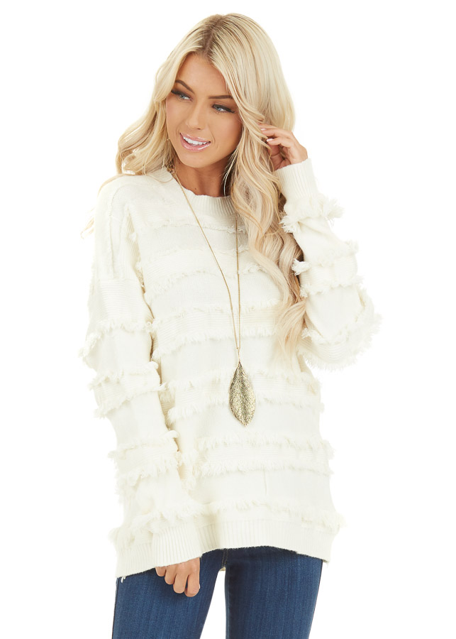 Ivory Long Sleeve Pullover Sweater Top with Fringe Details front close up