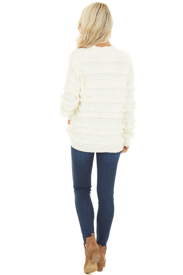 Ivory Long Sleeve Pullover Sweater Top with Fringe Details back full body