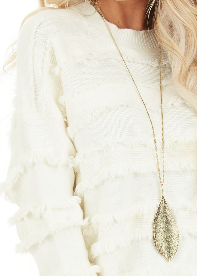 Ivory Long Sleeve Pullover Sweater Top with Fringe Details detail