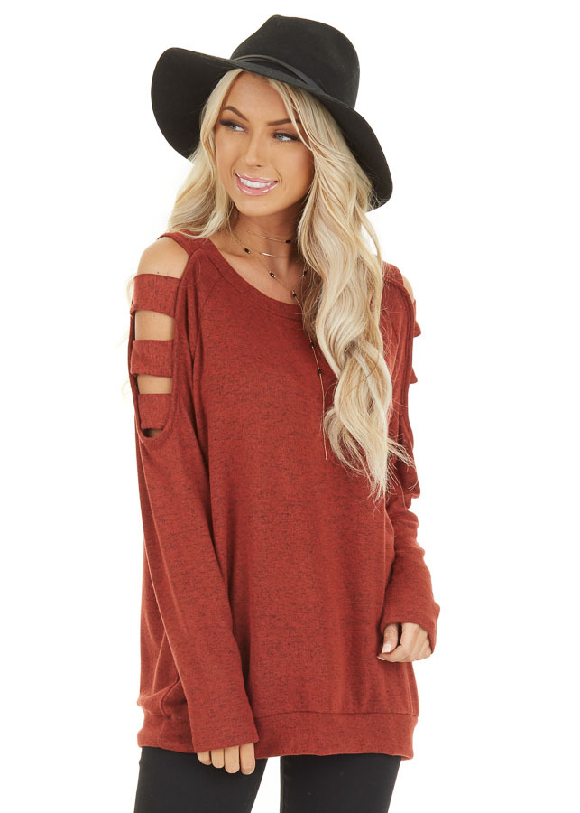 Brick Red Long Sleeve Top with Cold Shoulder Cutout Detail front close up
