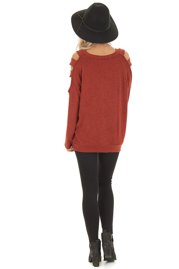Brick Red Long Sleeve Top with Cold Shoulder Cutout Detail back full body