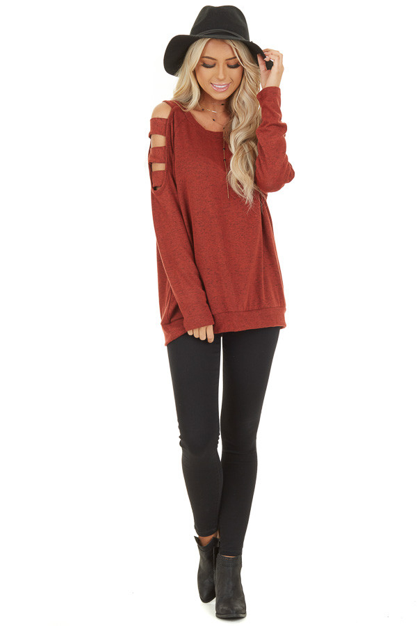 Brick Red Long Sleeve Top with Cold Shoulder Cutout Detail front full body