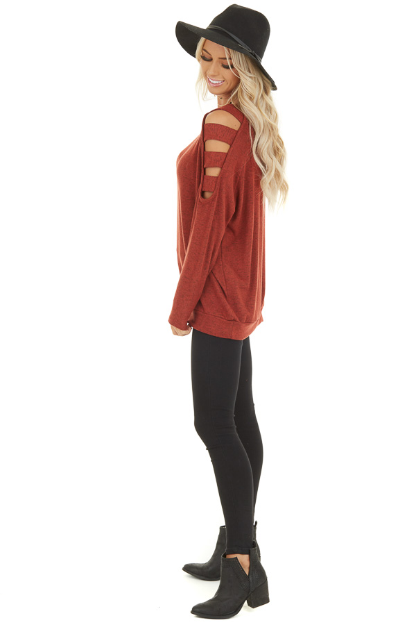Brick Red Long Sleeve Top with Cold Shoulder Cutout Detail side full body