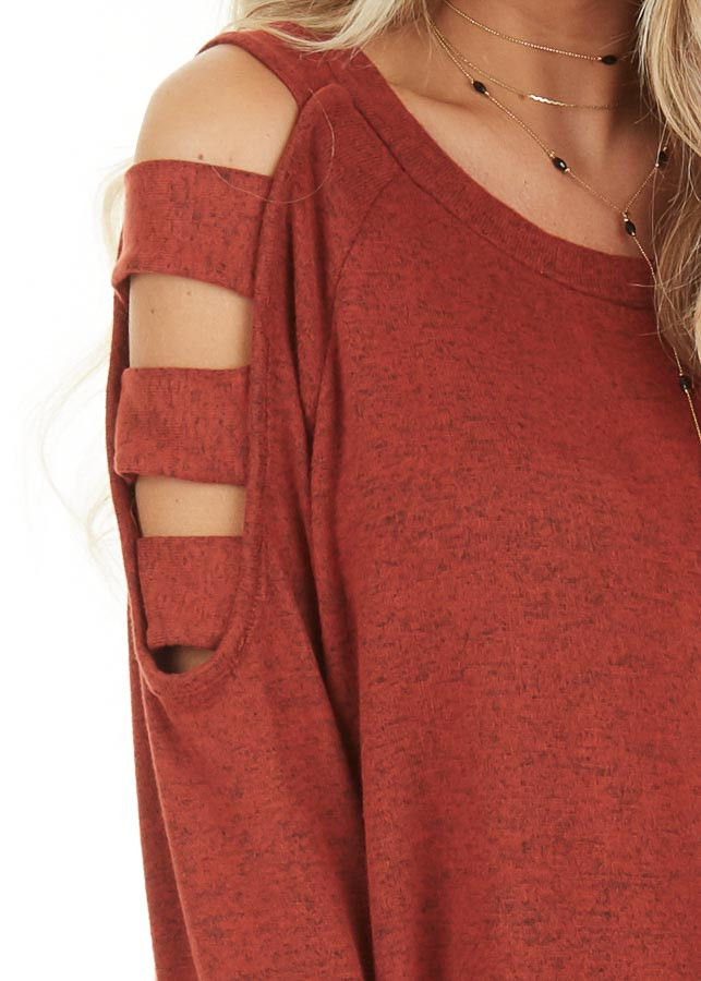 Brick Red Long Sleeve Top with Cold Shoulder Cutout Detail detail
