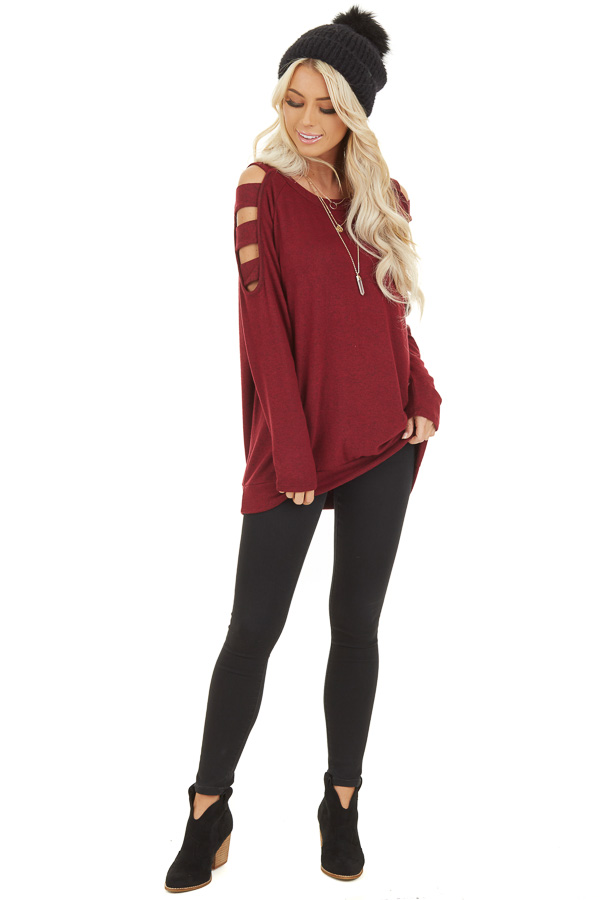 Burgundy Long Sleeve Top with Cold Shoulder Cutout Detail front full body
