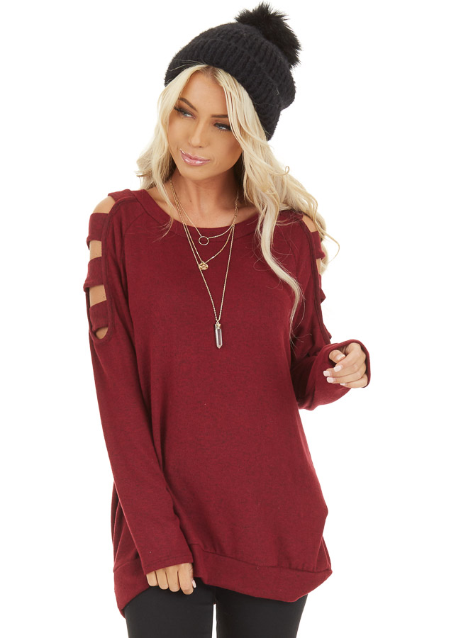 Burgundy Long Sleeve Top with Cold Shoulder Cutout Detail front close up