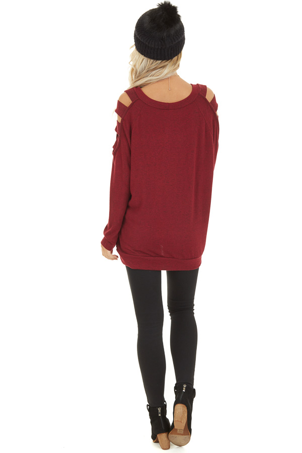 Burgundy Long Sleeve Top with Cold Shoulder Cutout Detail back full body