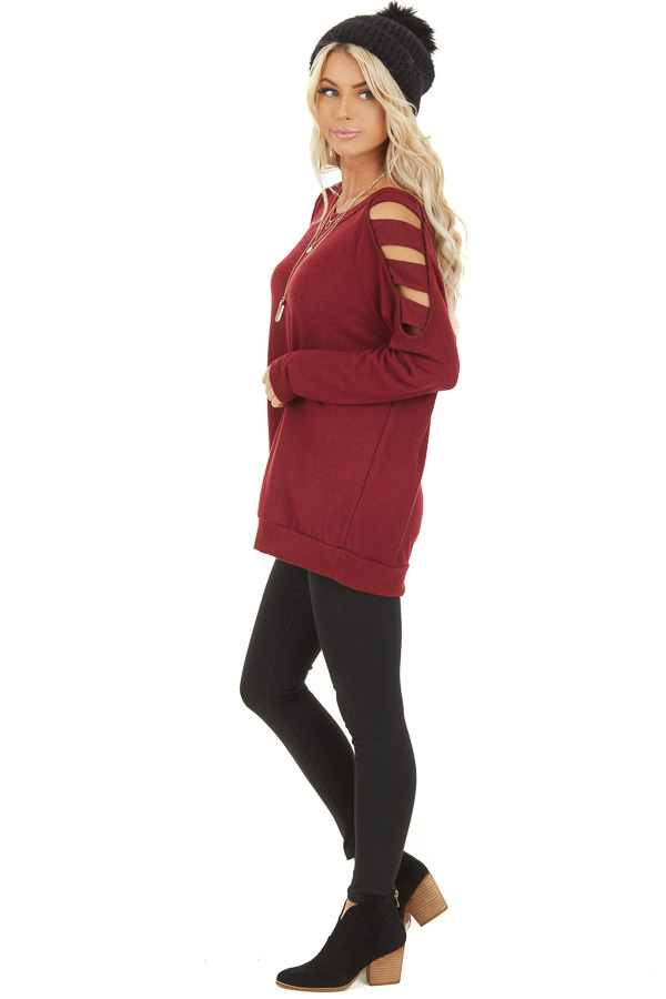 Burgundy Long Sleeve Top with Cold Shoulder Cutout Detail side full body