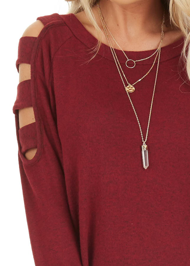 Burgundy Long Sleeve Top with Cold Shoulder Cutout Detail detail