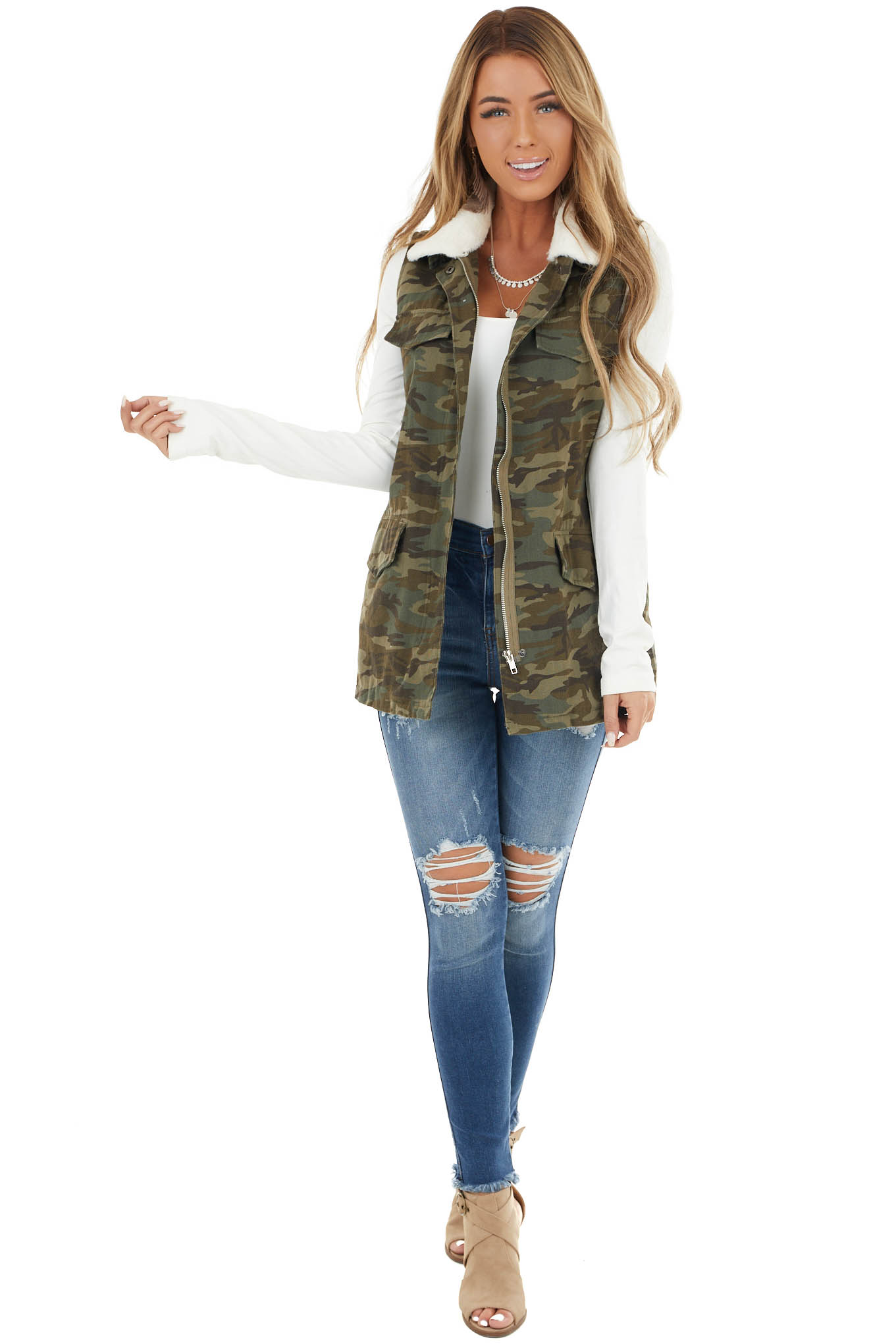 Olive Camo Print Zip Up Vest with Ivory Faux Fur Lining