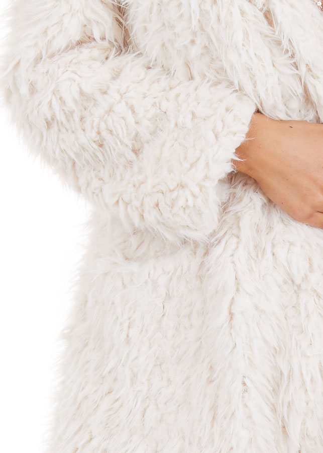 Cream Faux Fur Hooded Long Sleeve Jacket with Pockets detail