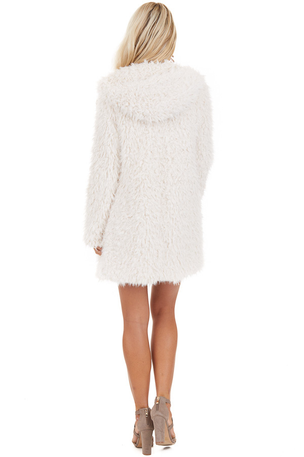 Cream Faux Fur Hooded Long Sleeve Jacket with Pockets back full body