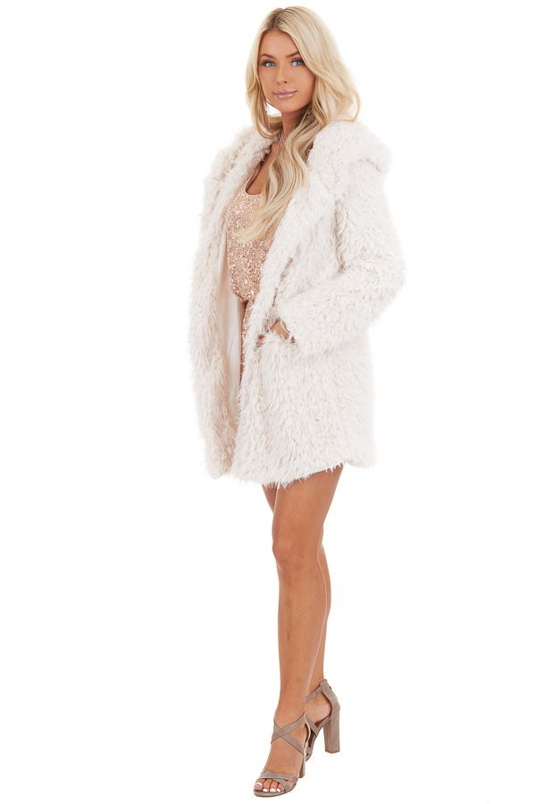 Cream Faux Fur Hooded Long Sleeve Jacket with Pockets side full body